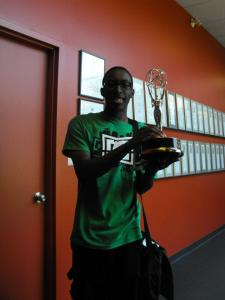 Me holding Degrassi's International Emmy.  Though being nominated several times, the show hasn't won an Emmy since 1987.