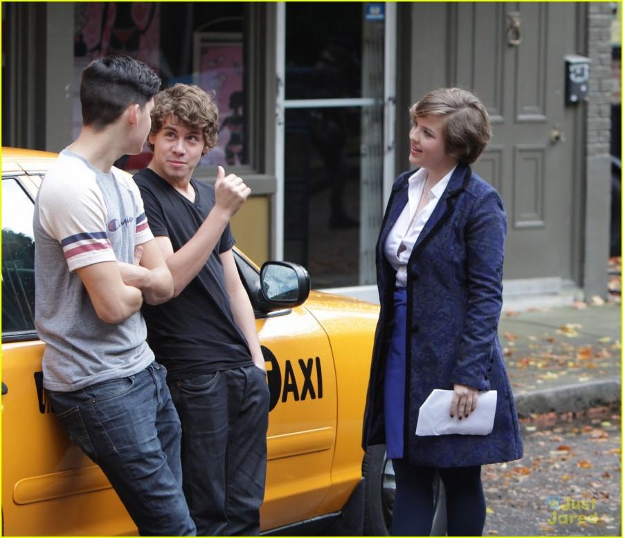 Munro Chambers, Aislinn Paul, Melinda Shankar and Ricardo Hoyos seen on set of 'Degrassi' in Toronto