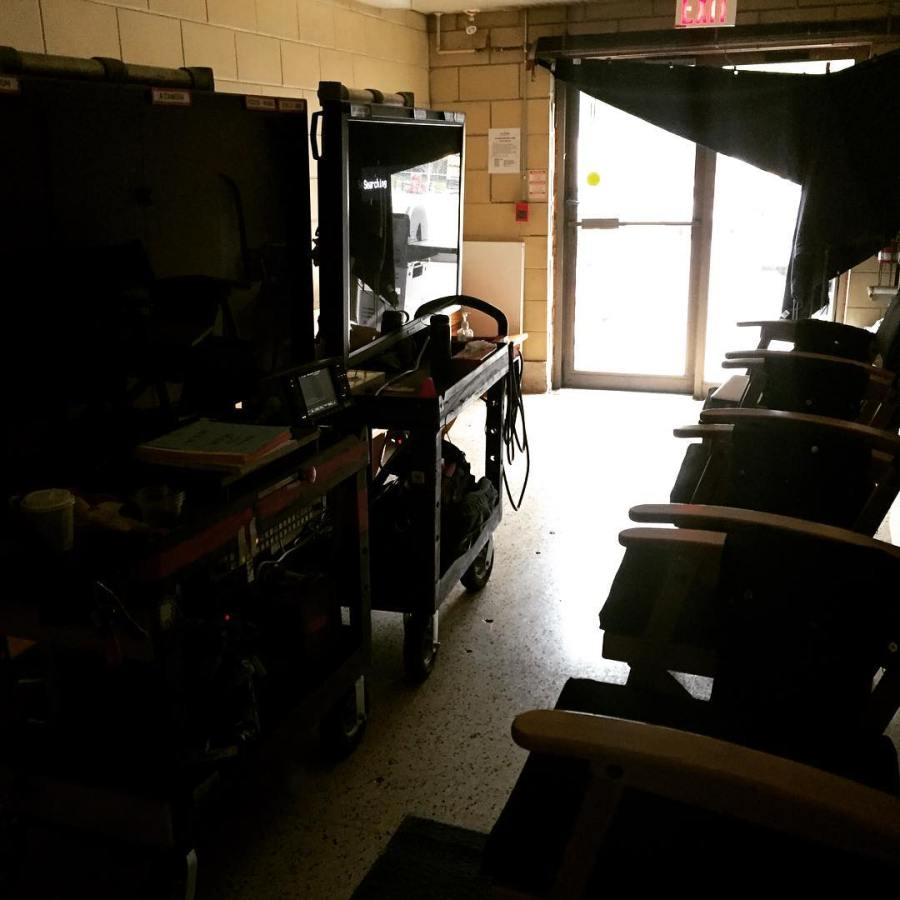 Where video village lives when we shoot in the girls bathroom - #degrassi #nextclass #setlife #loveourbigmonitors (Instagram/mtness22)