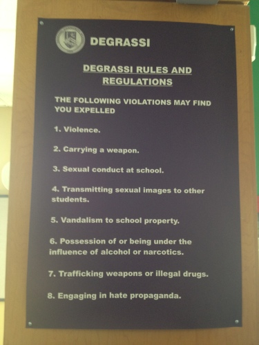 A prop from the set of Degrassi which outlines the school's conduct guidelines.